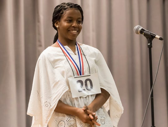 Bre'Ann Washington smiles after correctly spelling 'effervescently' to win the 2019 All-Parish Spelling Bee at Ouachita Junior High in Monroe, La. on March 1. Washington will go on to compete at the Scripps National Spelling Bee in Maryland on May 26th.