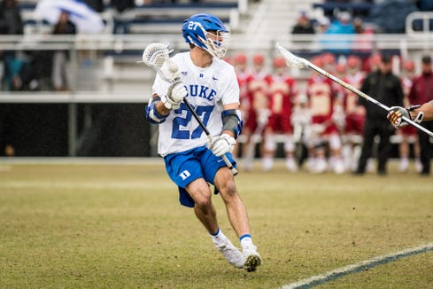 Duke senior Brad Smith of Mountain Lakes is playing attack after three years in midfield.