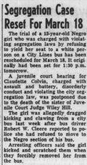 One of the earliest mentions of Claudette Colvin in the Montgomery Advertiser was published on March 10, more than a week after she was originally arrested.