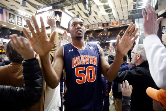 Auburn center Austin Wiley leaves the court after Auburn beat Vanderbilt in an NCAA college basketball game Saturday, Feb. 16, 2019, in Nashville, Tenn. Auburn won 64-53.