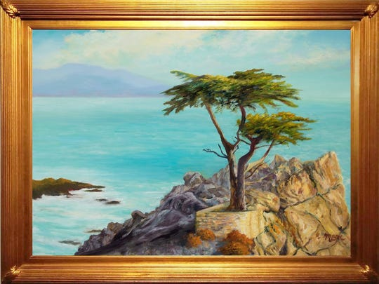 "An exhibition of new oil paintings by golfer-turned-artist Michael Miller, such as this one titled ""Lone Cyprus Pebble Beach,"" will open 5-8 p.m. March 7, 2019, at Gordy Fine Art & Framing Company, 224 E. Main St."
