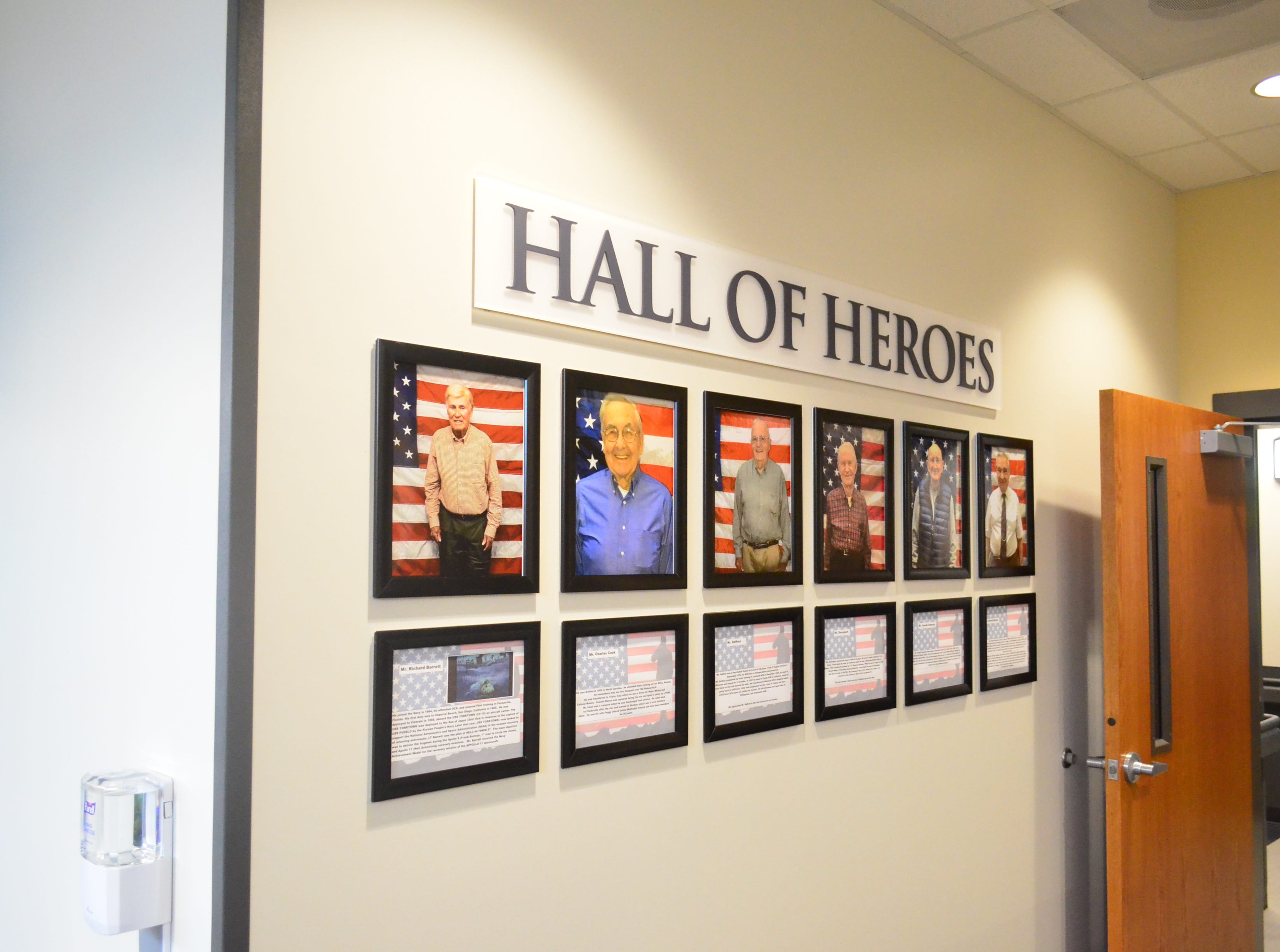 A Hall of Heroes, featuring photos and stories of veterans, pays tribute to some of the clinic's patients.