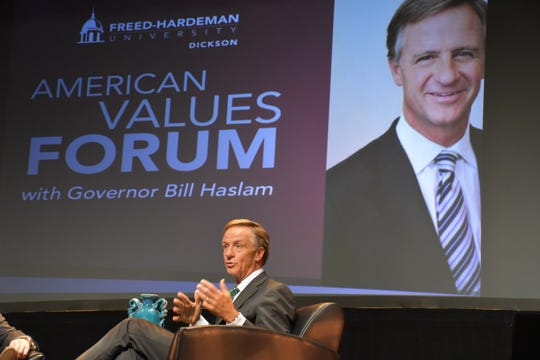 Former Gov. Bill Haslam, left, answers questions at the American Values Forum at Freed-Hardeman University-Dickson. The two asking questions were (not pictured) FHU-Dickson Director of Nursing Bob Spencer and FHU President David Shannon.