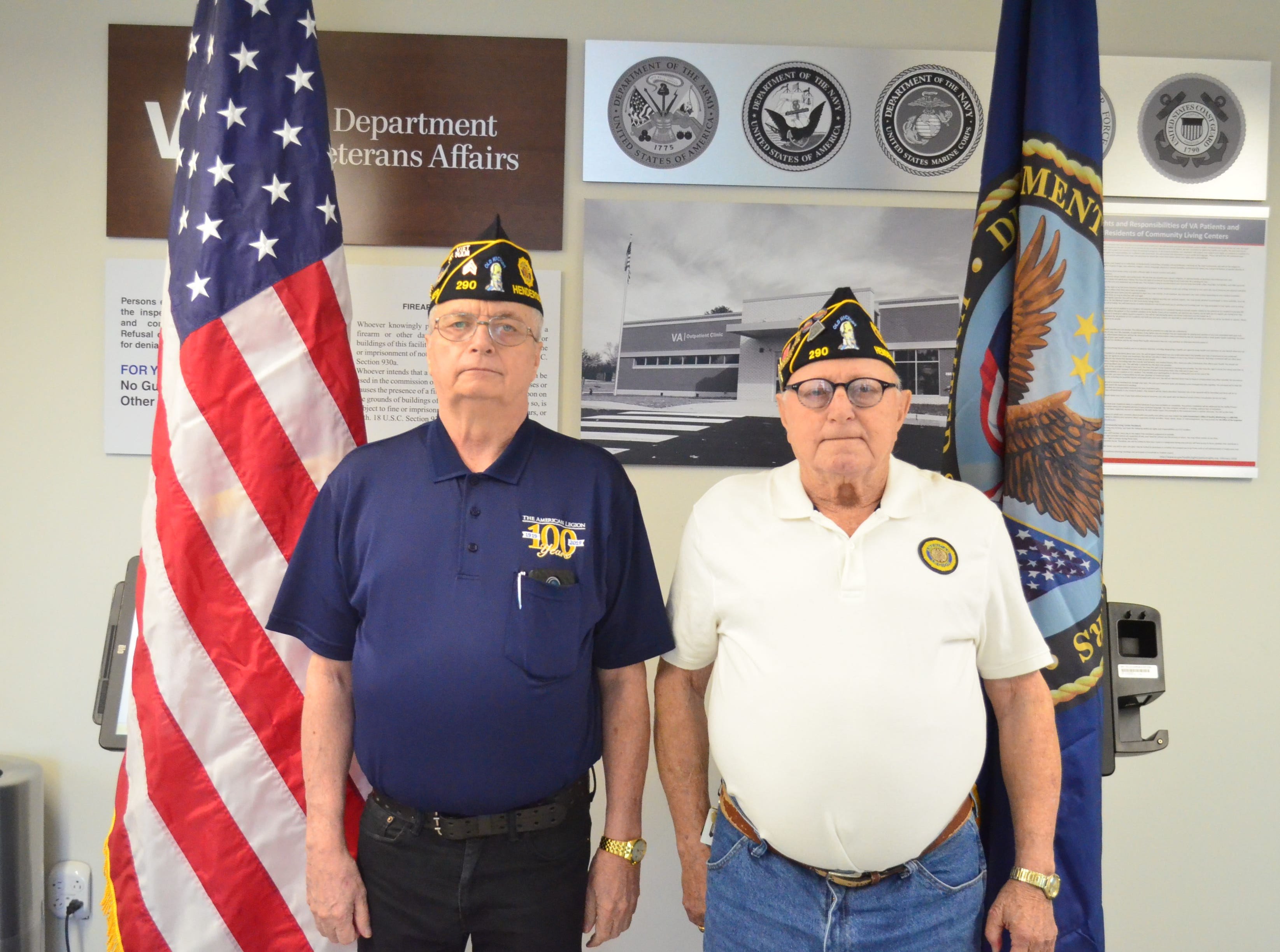 Veterans Phillip Haisler (left) and Abel Lormand are pictured at the Gallatin clinic before the ribbon cutting ceremon on March 1, 2019.