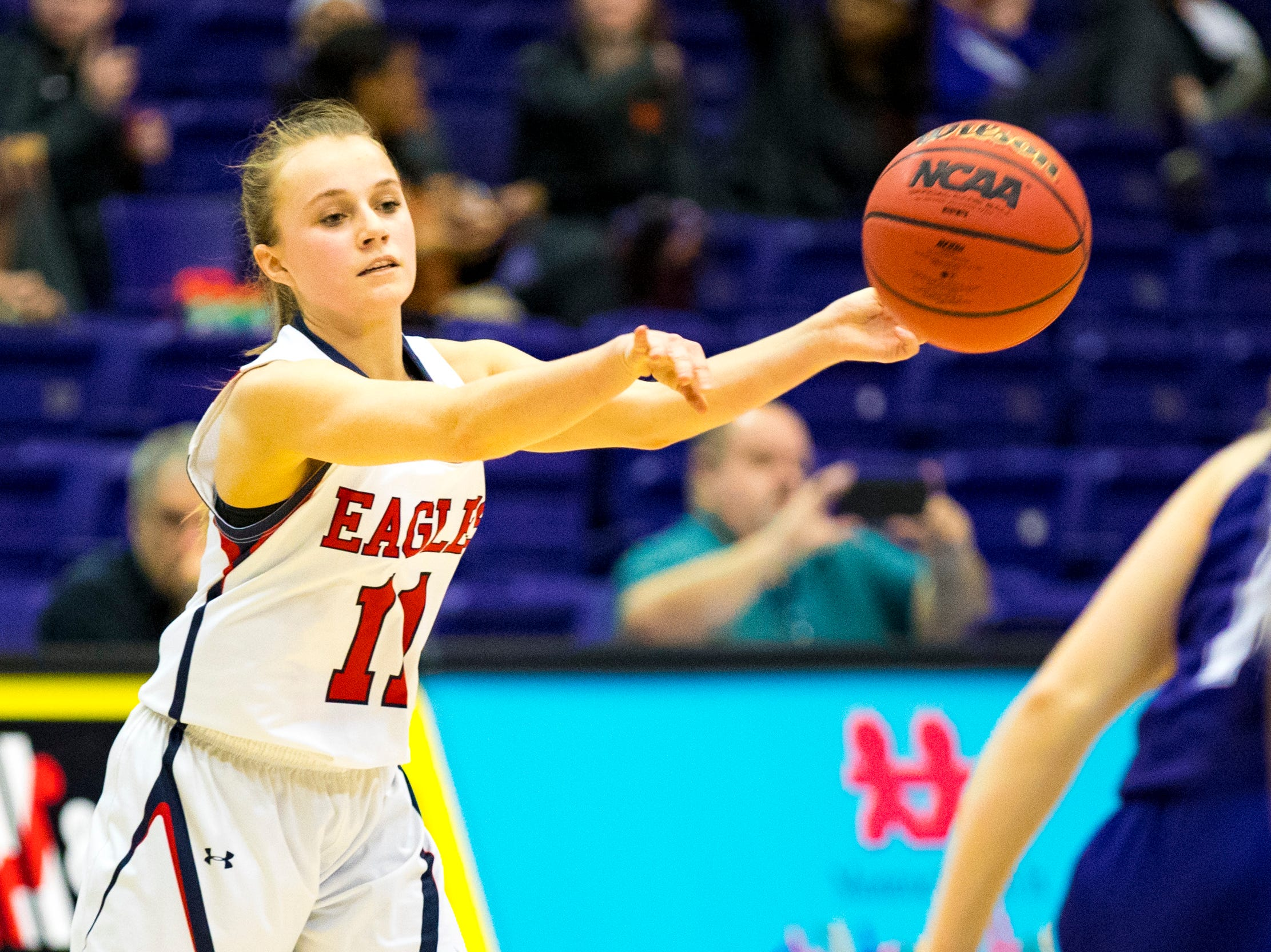 Brentwood Academy's Millie Brown (11) passes during Brentwood Academy's game against Father Ryan in the semifinal round of the TSSAA Division II Class AA State Championships at Lipscomb University's Allen Arena in Nashville on Thursday, Feb. 28, 2019.
