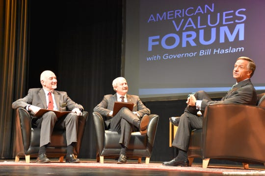 Former Gov. Bill Haslam, left, answers questions at the American Values Forum at Freed-Hardeman University-Dickson. The two asking questions were, from left FHU-Dickson Director of Nursing Bob Spencer and FHU President David Shannon.