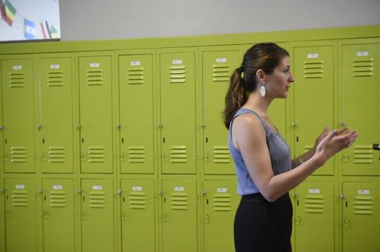 Dr. Kristin McGraner, Founder and Executive Director of STEM Prep talks in the hall at STEM Prep August 1, 2016 in Nashville, Tenn.