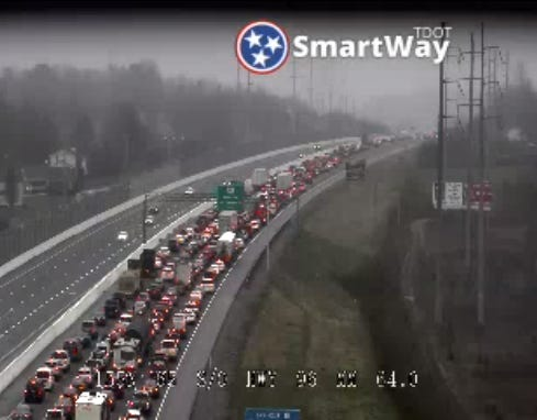 I-65 north congestion in Franklin due to vehicle fire.