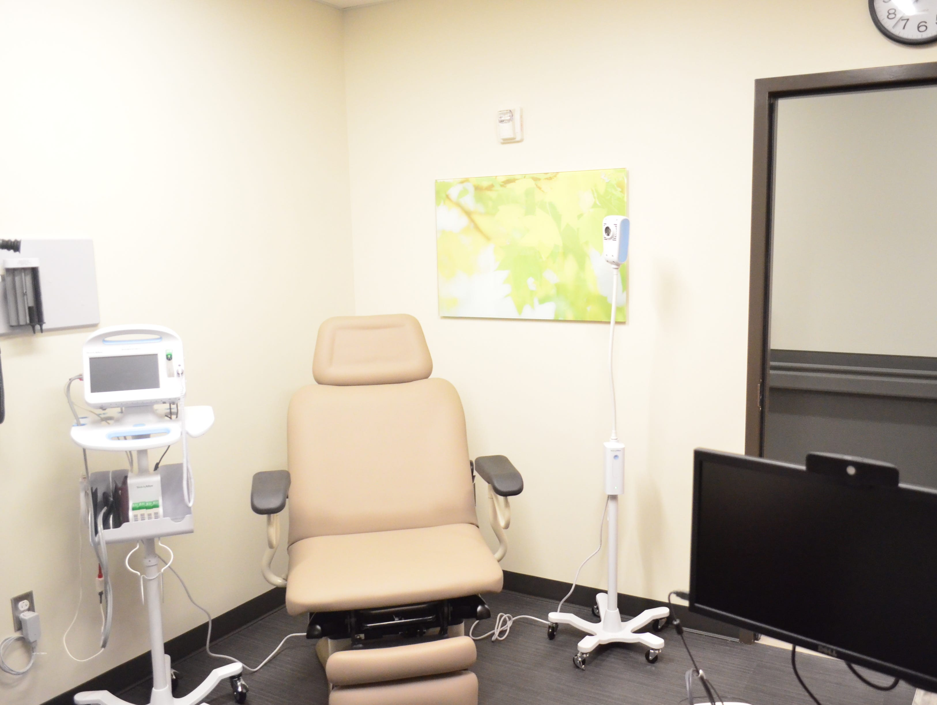 Patient rooms are set up so that the provider can easily talk with the patient face-to-face in a comfortable environment.