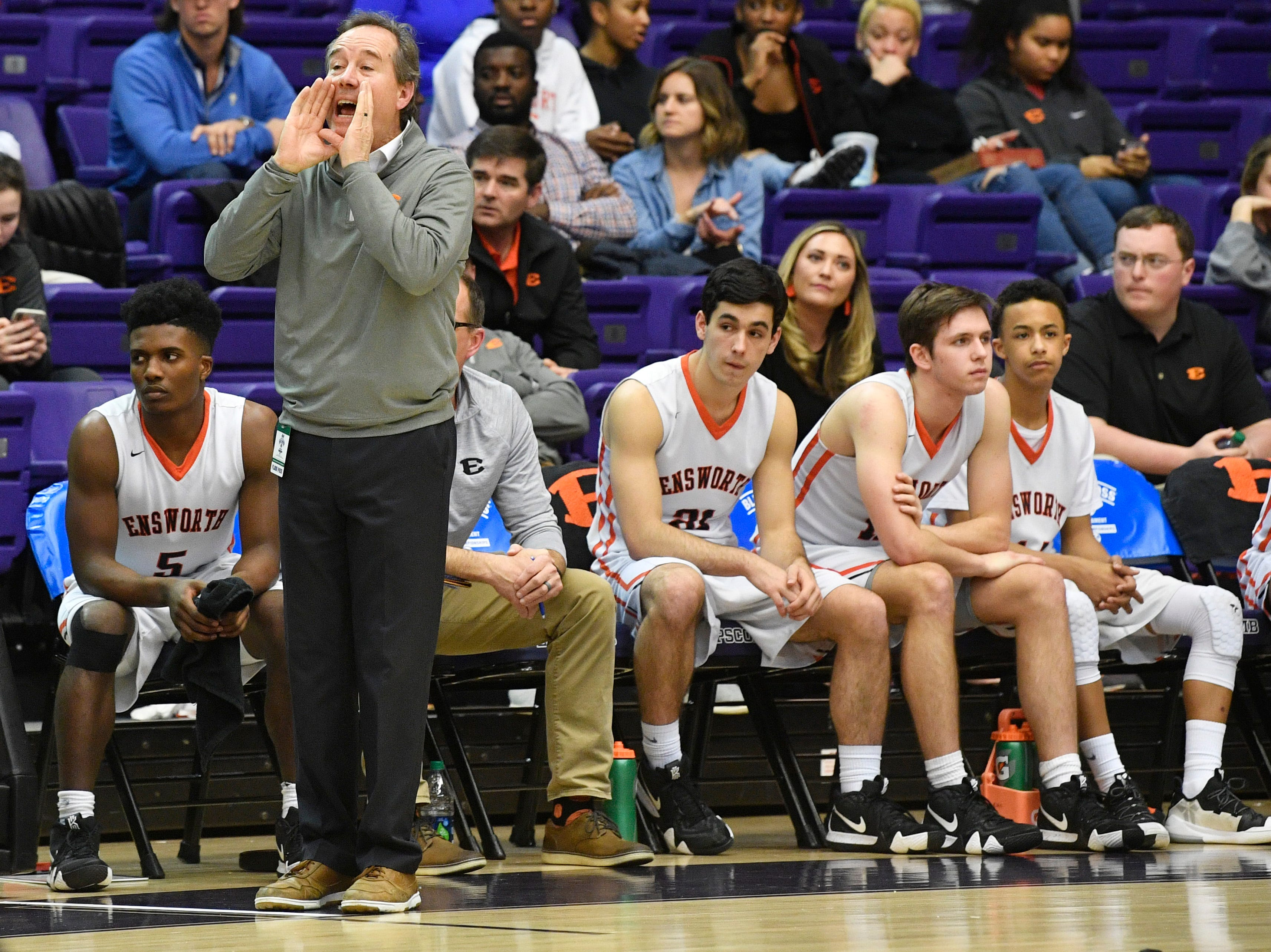 Ensworth Coach Ricky Bowers shouts instructions to his team as Ensworth plays Briarcrest Christian in the Division II- AA semifinals at Allen Arena  Thursday, Feb. 28, 2019, in Nashville, Tenn.