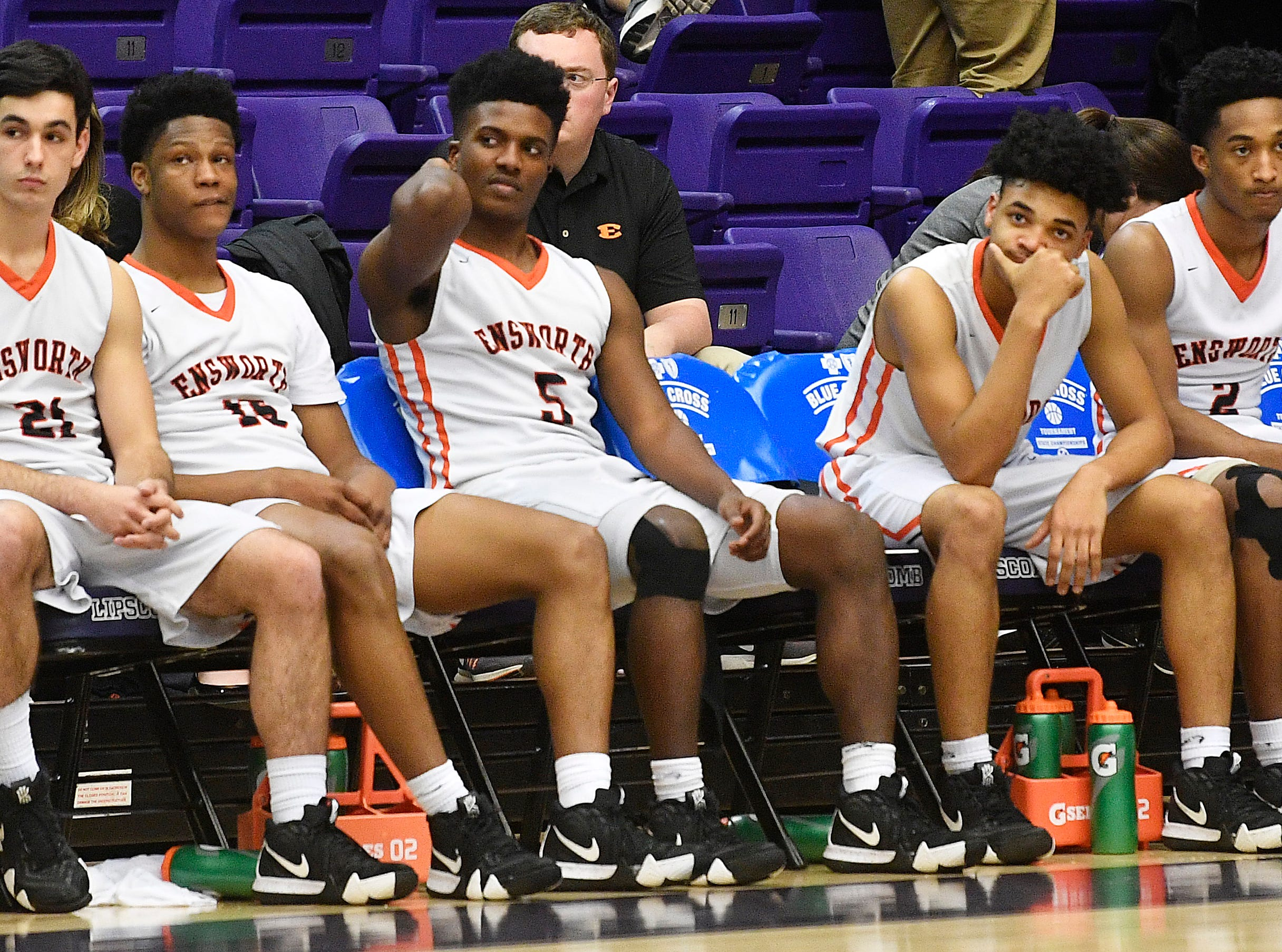 The Ensworth bench is somber after they lost to Briarcrest Christian in the Division II- AA semifinals 59-72 at Allen Arena  Thursday, Feb. 28, 2019, in Nashville, Tenn.