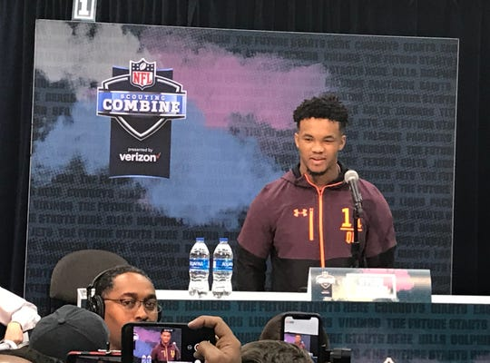 Oklahoma quarterback Kyler Murray talks to reporters Friday at the NFL Combine in Indianapolis.