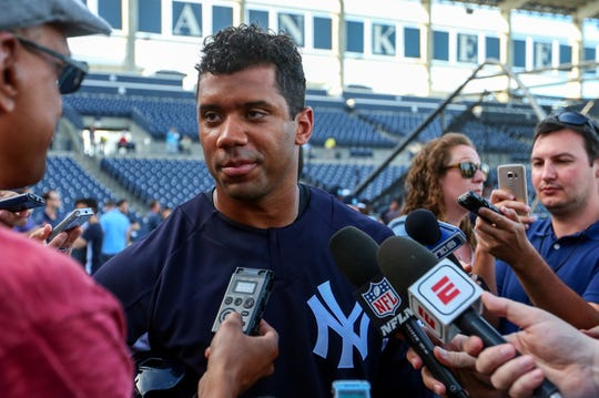 FILE: Feb 26, 2018; Tampa, FL, USA; Seattle Seahawks quarterback Russell Wilson (73) talks with media after practice before a Spring Training game against the Philadelphia Phillies at George M. Steinbrenner Field last spring.
