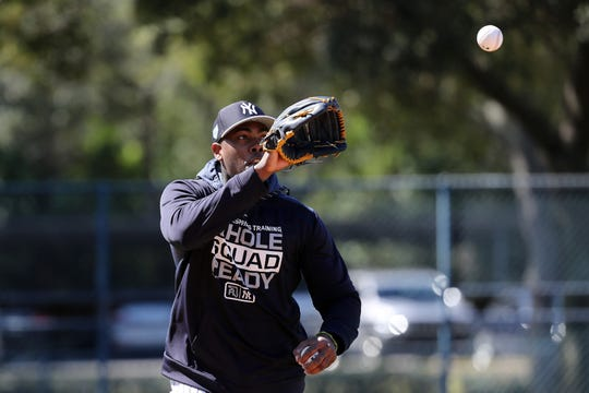 Feb 14, 2019; Tampa, FL, USA; New York Yankees relief pitcher Aroldis Chapman (54) works out during spring training at George M. Steinbrenner Field.