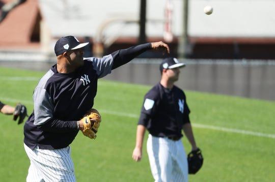 Tampa, FL, USA; New York Yankees starting pitcher CC Sabathia (52) throws during spring training at George M. Steinbrenner Field.