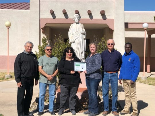 Pictured are Brenda Garcia, Deacon Tony Dominguez, and Francis Gyau of San Jose Catholic Church, Denton McCullogh, Beautifcation Committee Member, and Mary Garwood, Keep Carlsbad Beautiful Director.