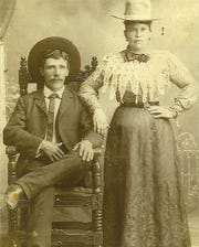Mr. and Mrs. Felipe Sanchez of Lincoln County. The photo was taken when the couple lived in Patos, near White Oaks or in the Glencoe farm in the Hondo Valley,  before they left on the Texas adventure, which Reynaldo notes in his diary.