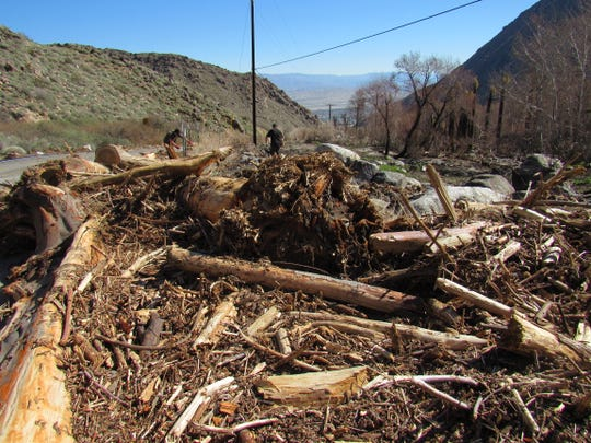 Once Tramway Road repairs are completed, heavy equipment can get in to begin clearing the debris swept downstream during the flash flooding on Feb. 14, 2019, at the Palm Springs Aerial Tramway.