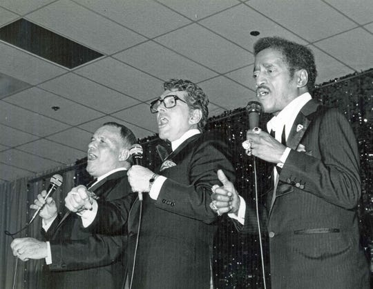 Frank Sinatra, Dean Martin and Sammy Davis, Jr. performing at the Canyon Hotel for Valentine Love-in Benefit for Desert Hospital, 1983.