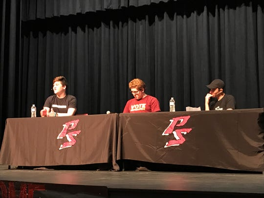 Students from Parkland, Florida answered questions from local students at Palm Springs High School on Friday, March 1.