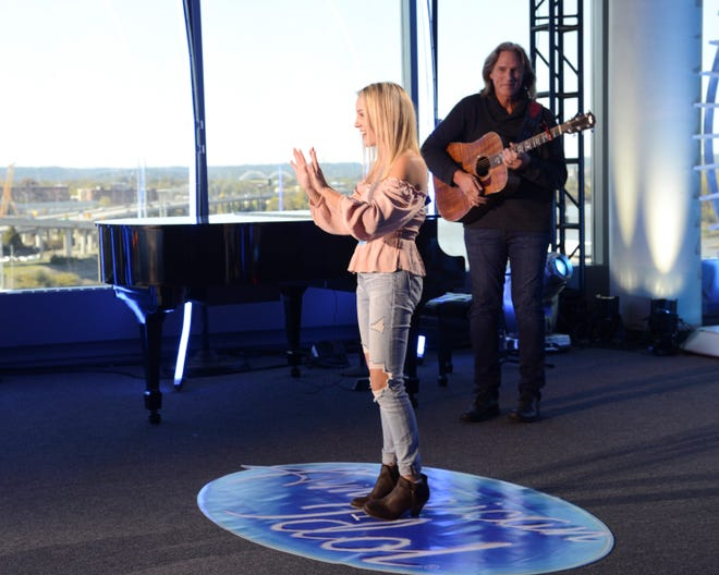 """Pace High School junior Chloe Channell performs for the judges during her """"American Idol"""" audition."""