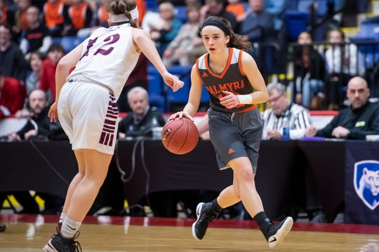Palmyra's Amelia Baldo dribbles down the court during the District 3 5A girls championship game against Gettysburg at Santander Arena in Reading, Pa., Friday, March 1, 2019.