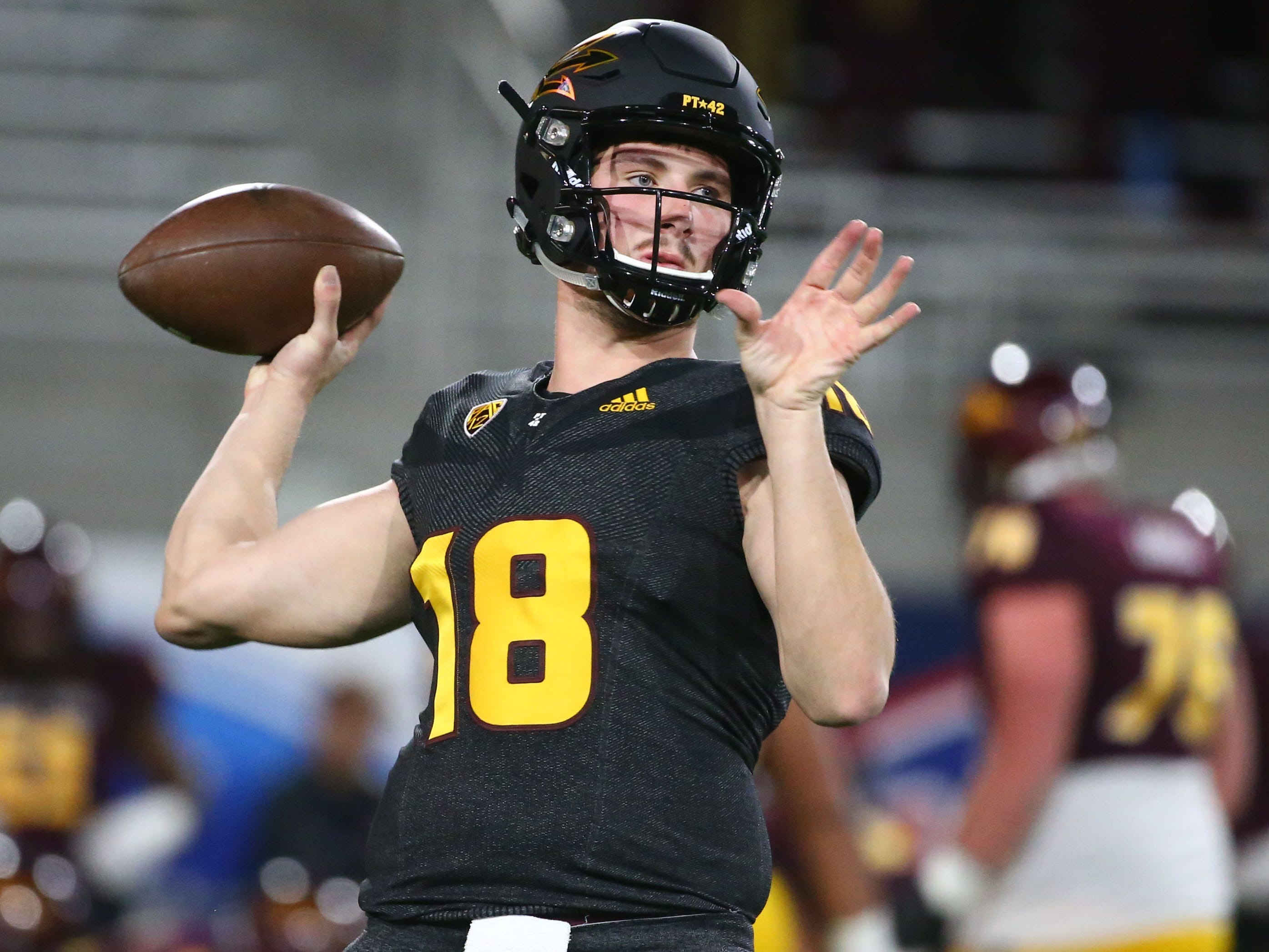 Arizona State quarterback Joey Yellen (18) during the spring practice game on Feb. 28, 2019 at Sun Devil Stadium in Tempe, Ariz.