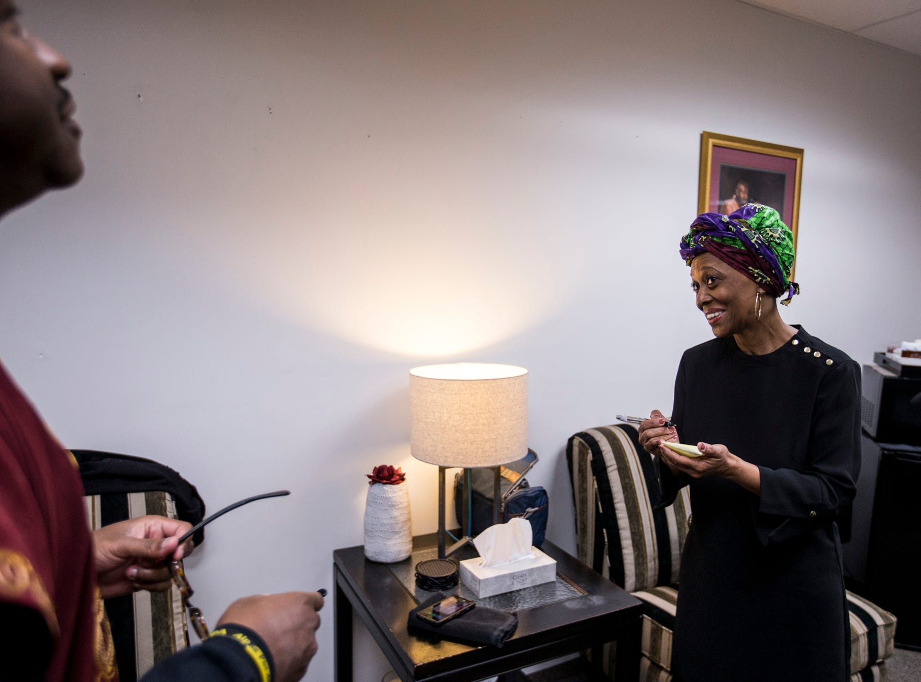 Sharon Green talks to Pastor Terry Mackey in the vestry before the 7:30 a.m. service on Feb. 24, 2019, at Pilgrim Rest Baptist Church in Phoenix. Mackey was appointed to replace the late Bishop Alexis Thomas.
