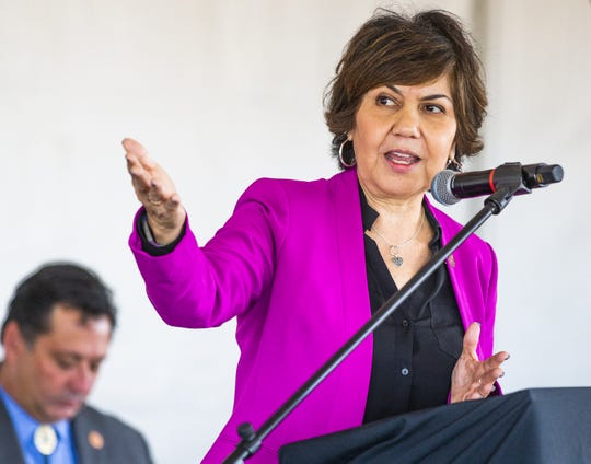 Charlene Fernandez, Arizona House of Representatives minority leader, makes comments to the crowd at the grand opening ceremony for the MAR 5 Interpretive Trail near Sacaton, Friday, March 1, 2019.
