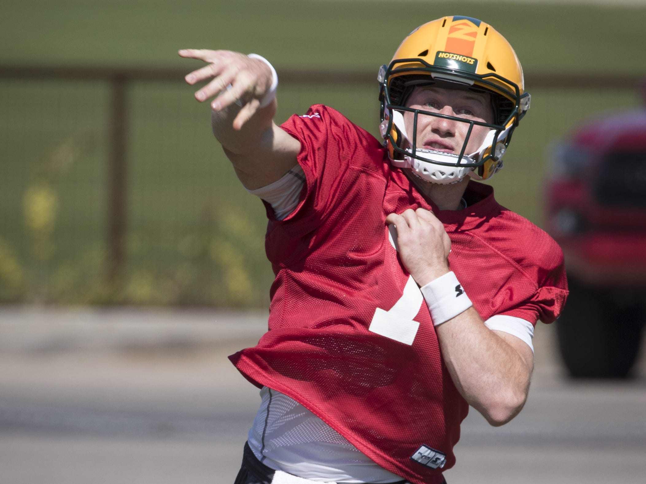 John Wolford (QB, #7) throws a pass during practice, February 28, 2019, at State Farm Stadium (Great Lawn practice field), 1 Cardinals Drive, Glendale.