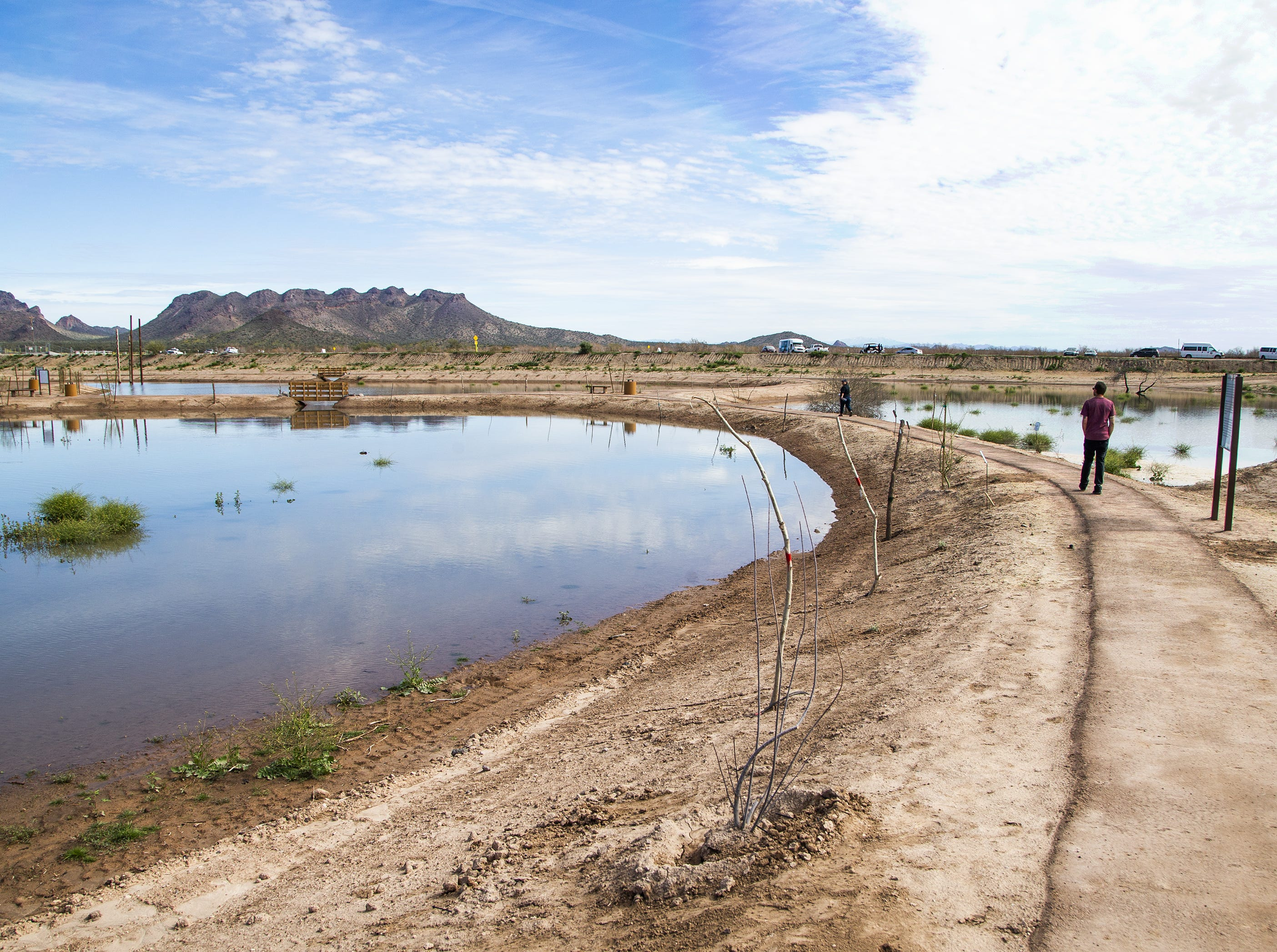 A man takes the trail during the MAR 5 Interpretive Trail grand opening ceremony near Sacaton, Friday, March 1, 2019.