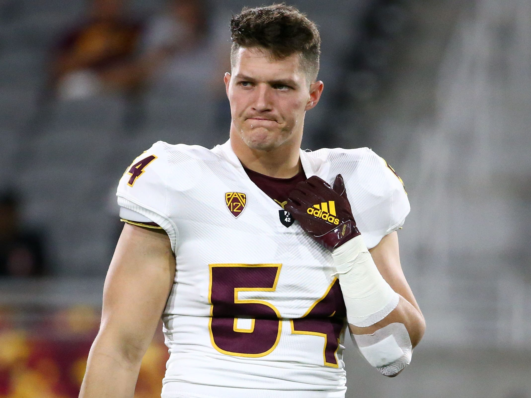Arizona State linebacker Case Hatch (54) during the spring practice game on Feb. 28, 2019 at Sun Devil Stadium in Tempe, Ariz.