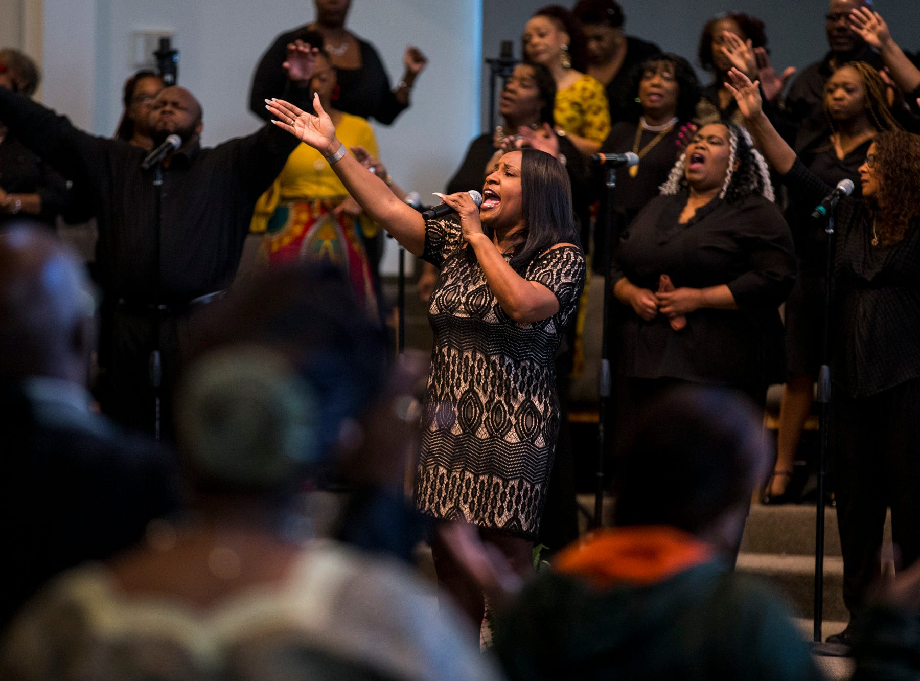 The choir sings during the 7:30 a.m. service on Feb. 24, 2019, at Pilgrim Rest Baptist Church in Phoenix. Pastor Terry Mackey was appointed to replace the late Bishop Alexis Thomas.