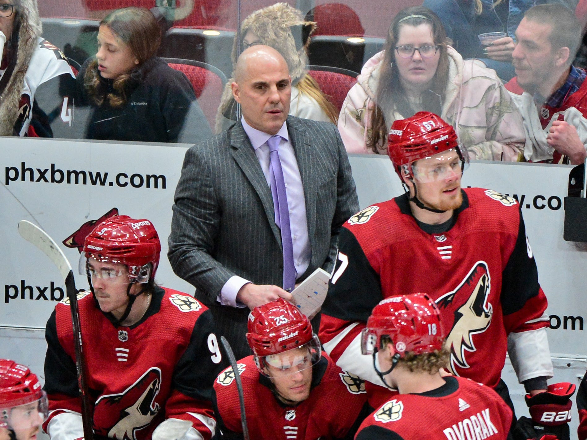 Feb 28, 2019; Glendale, AZ, USA; Arizona Coyotes head coach Rick Tocchet looks on during the first period against the Vancouver Canucks at Gila River Arena.