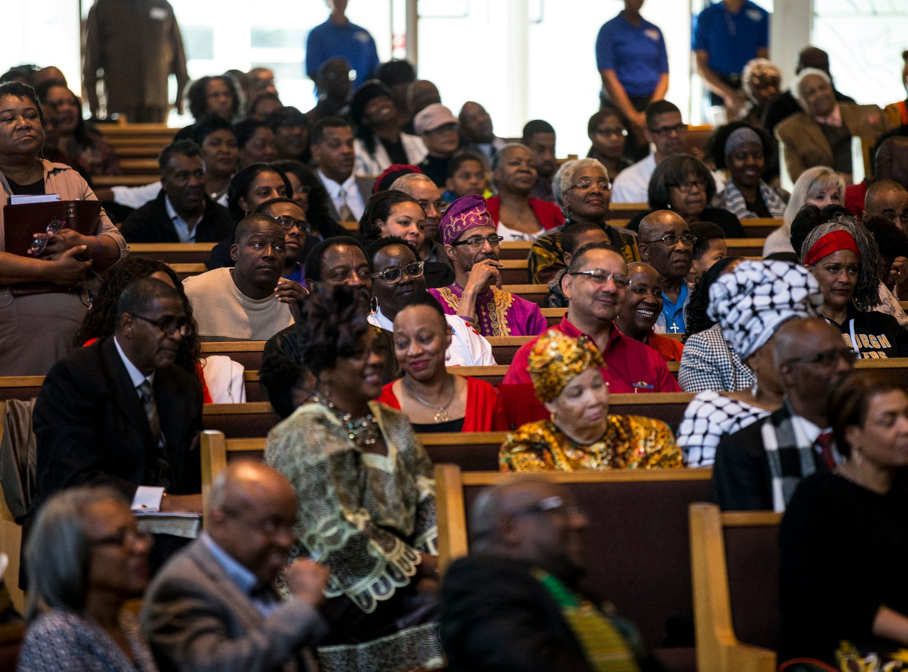 Congregants listen during the 7:30 a.m. service on Feb. 24, 2019, at Pilgrim Rest Baptist Church in Phoenix. Pastor Terry Mackey was appointed to replace the late Bishop Alexis Thomas.