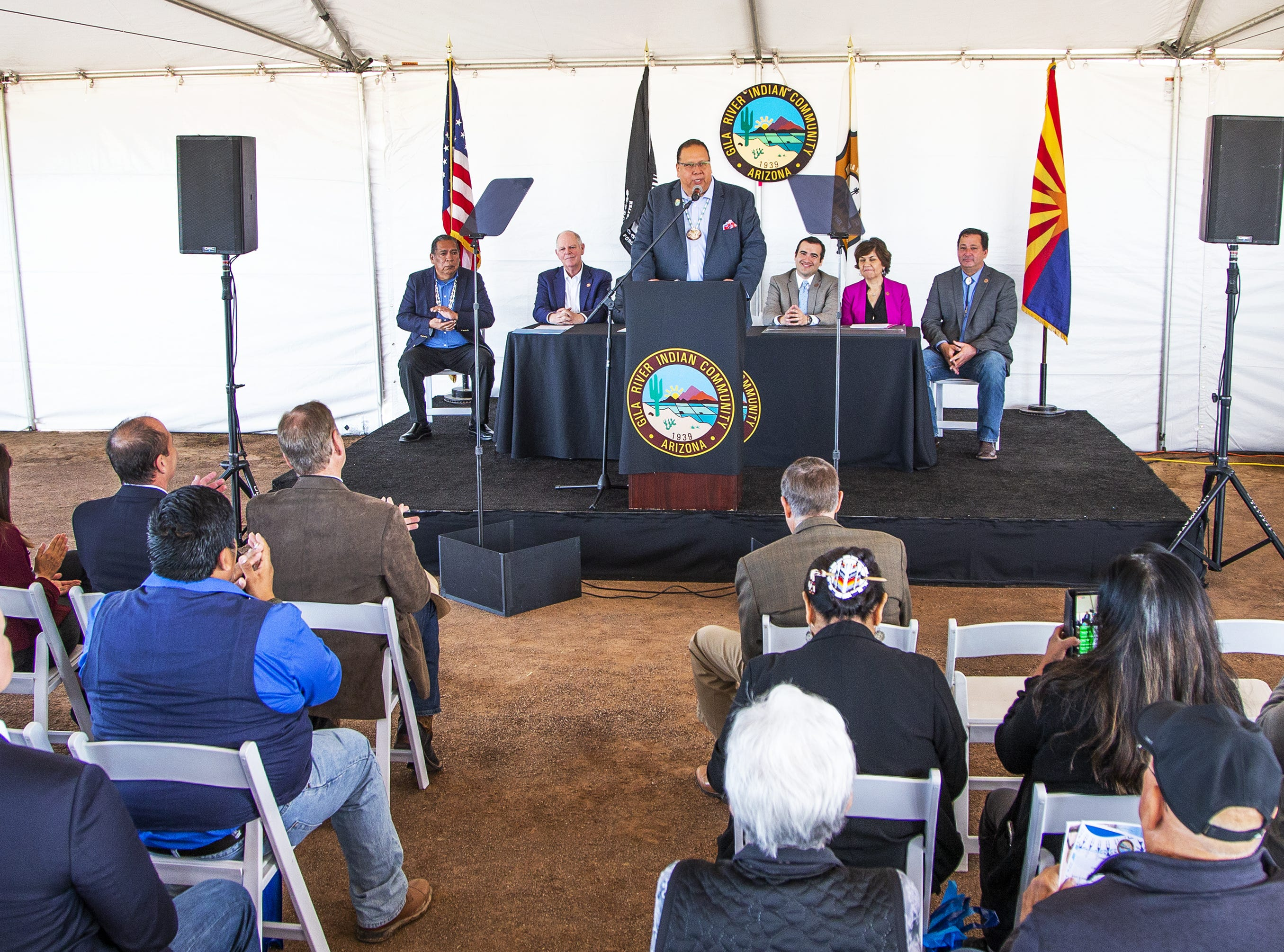 Gila River Indian Community Gov. Stephen Lewis welcomes the crowd to the MAR 5 Interpretive Trail grand opening ceremony near Sacaton, Friday, March 1, 2019.