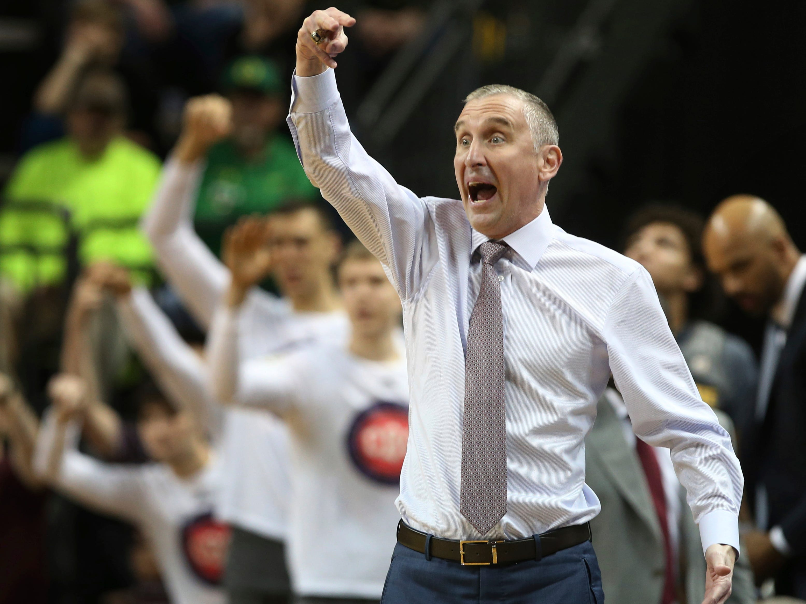 Arizona State coach Bobby Hurley gestures to his team during the first half of an NCAA college basketball game against Oregon on Thursday, Feb. 28, 2019, in Eugene, Ore.