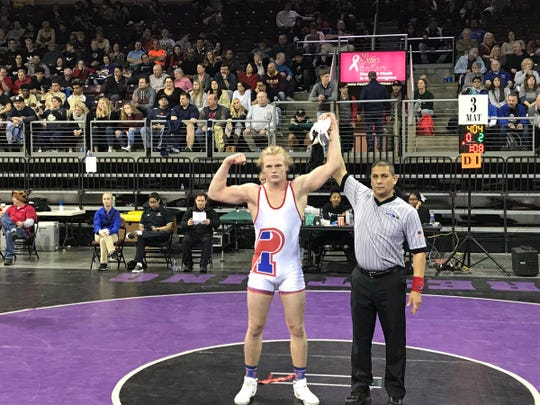 Feb. 10. 2019; Mesa Mountain View senior Jeremiah Hollen wins the 195-pound weight class title at the 2019 AIA State Championship tournament at Findlay Toyota Center.