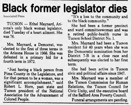 Newspaper clipping from The Arizona Republic's May 22, 1980 issue showing a story about Ethel Maynard's death.