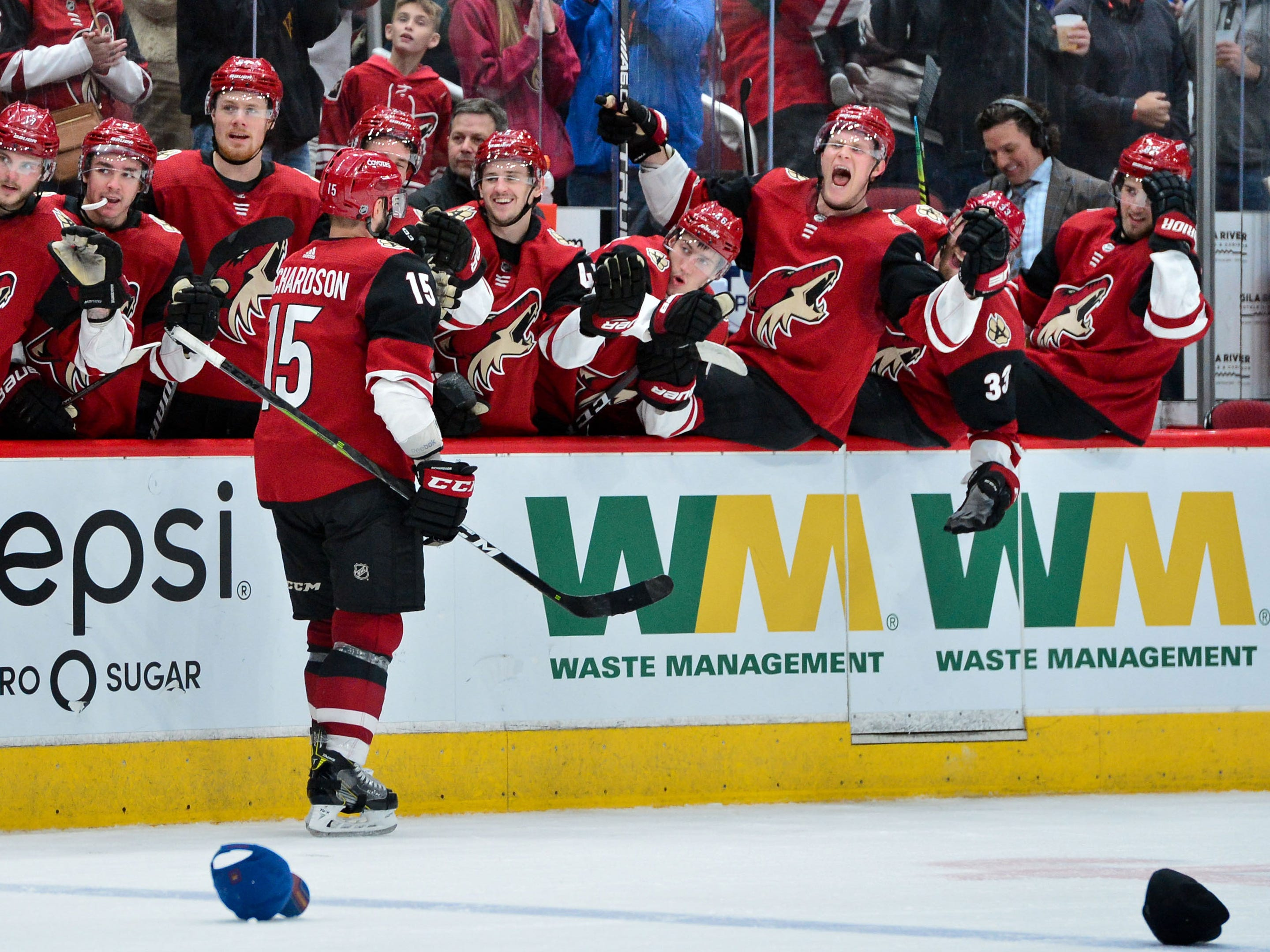 Feb 28, 2019; Glendale, AZ, USA; Arizona Coyotes center Brad Richardson (15) celebrates with teammates after scoring his third goal on the game during the second period at Gila River Arena.