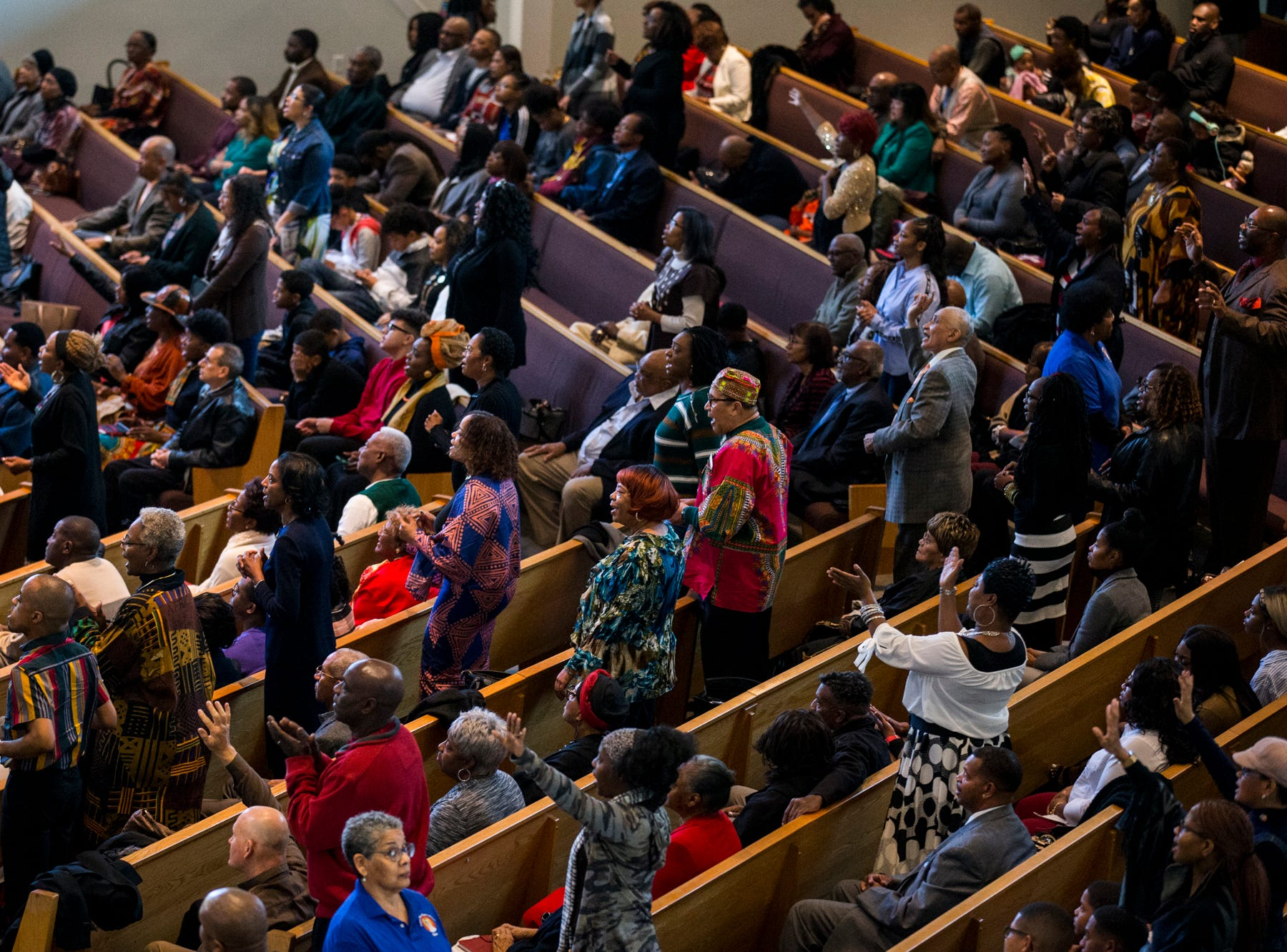 Congregants sing during the 7:30 a.m. service on Feb. 24, 2019, at Pilgrim Rest Baptist Church in Phoenix. Pastor Terry Mackey was appointed to replace the late Bishop Alexis Thomas.