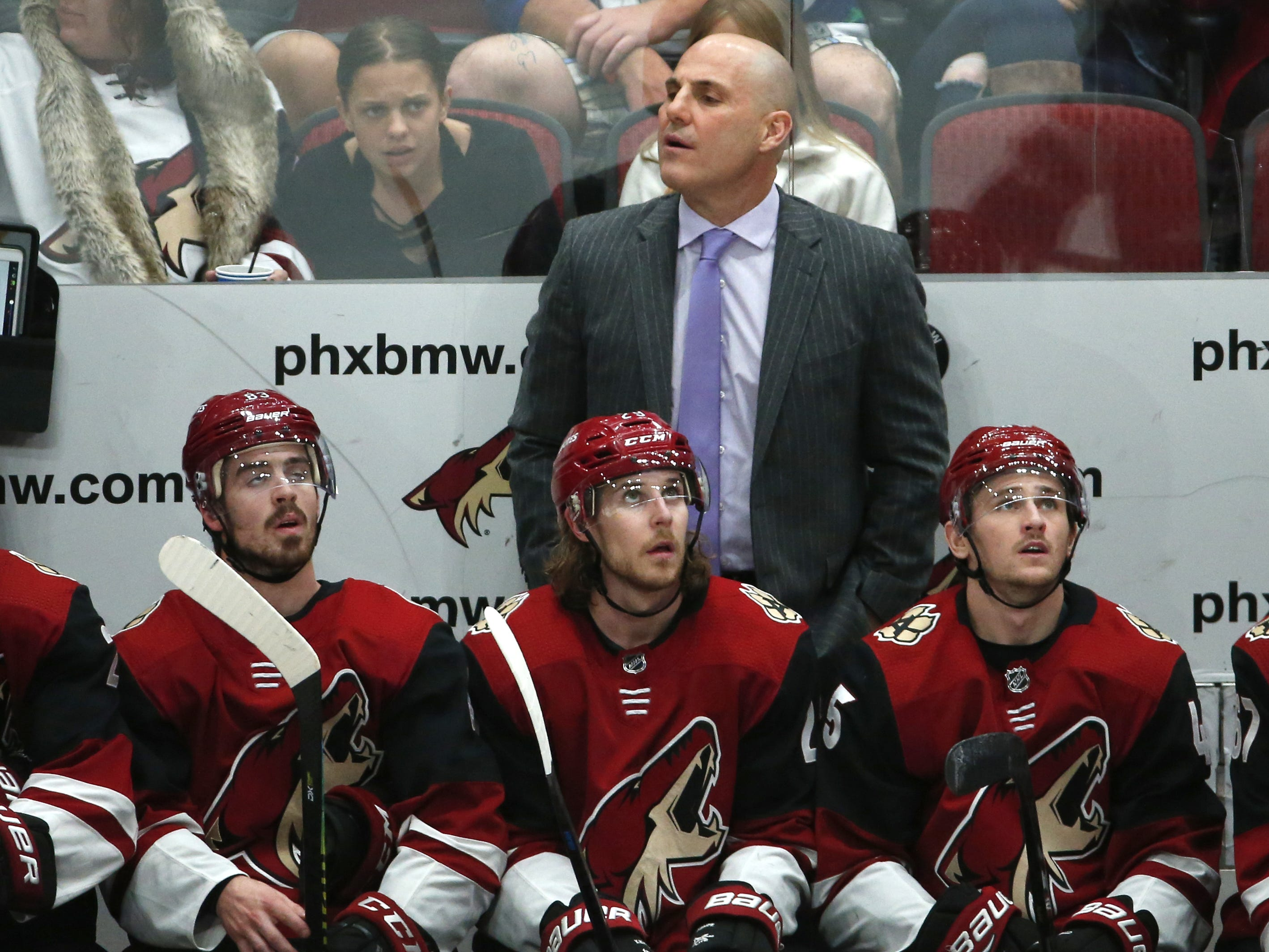 Arizona Coyotes head coach Rick Tocchet watches his team during a NHL game against the Vancouver Canucks at Gila River Arena in Glendale on February 28.