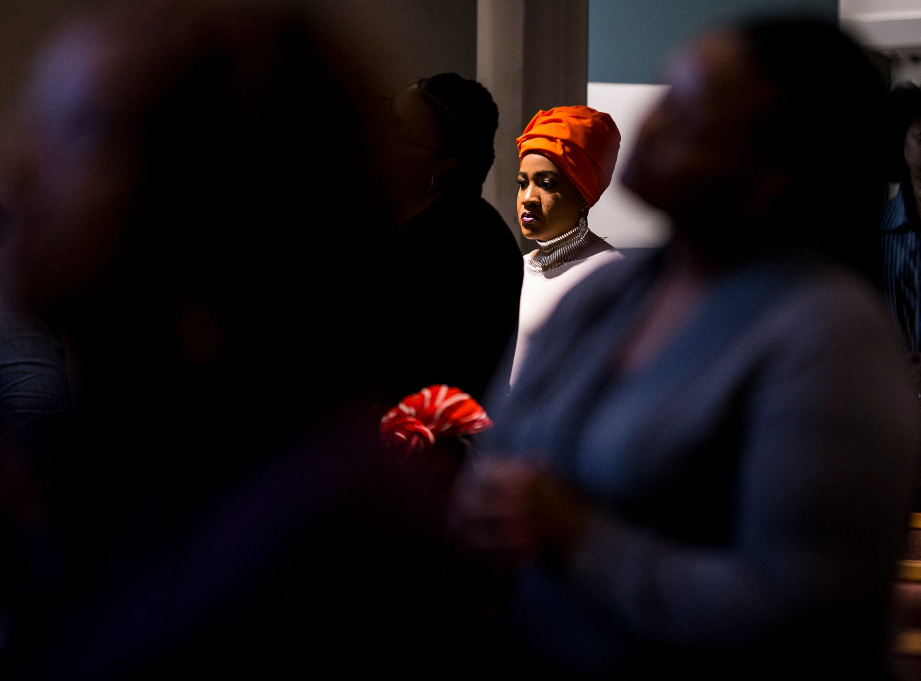 A congregant listens during the 7:30 a.m. service on Feb. 24, 2019, at Pilgrim Rest Baptist Church in Phoenix. Pastor Terry Mackey was appointed to replace the late Bishop Alexis Thomas.