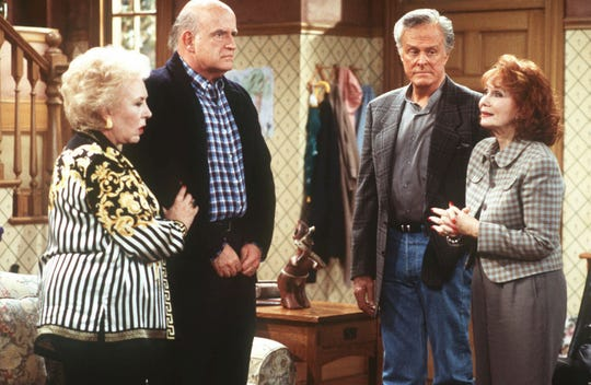 "Doris Roberts (from left), Peter Boyle, Robert Culp and Katherine Helmond star in ""Everybody Loves Raymond."""