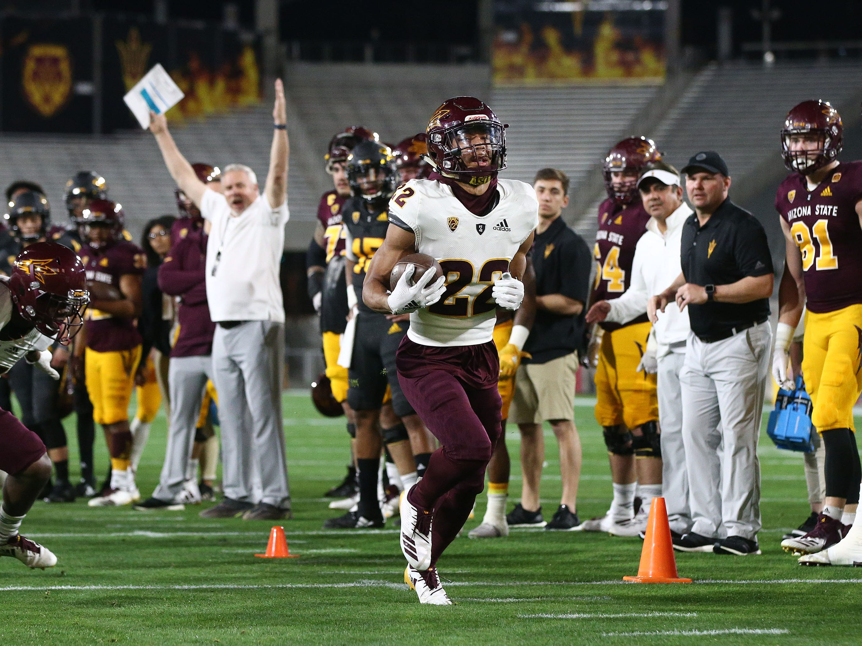 Arizona State defensive back Darien Cornan runs for a touchdown during the spring practice game on Feb. 28, 2019 at Sun Devil Stadium in Tempe, Ariz.