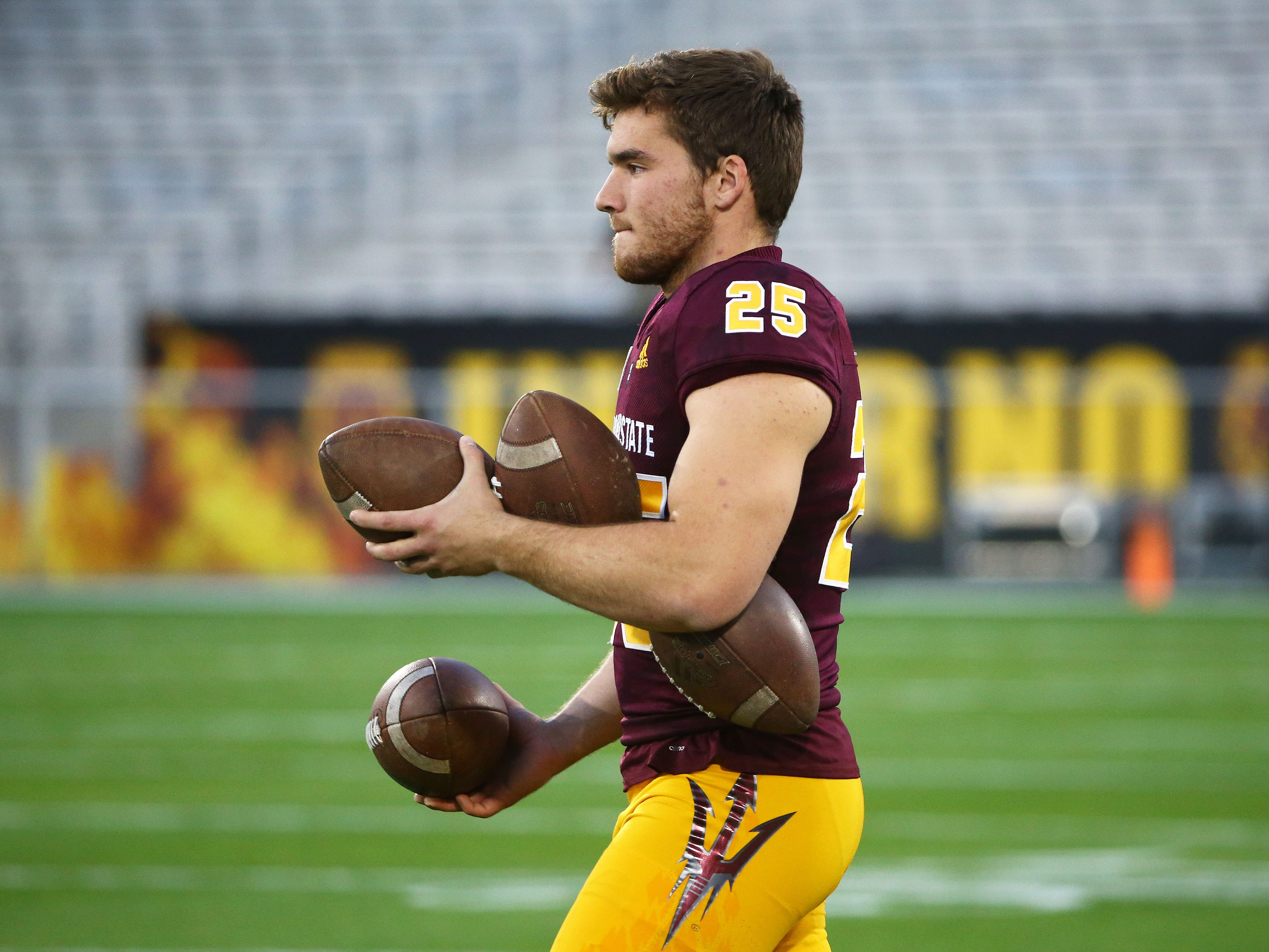 Arizona State punter Michael Turk (25) during the spring practice game on Feb. 28, 2019 at Sun Devil Stadium in Tempe, Ariz.
