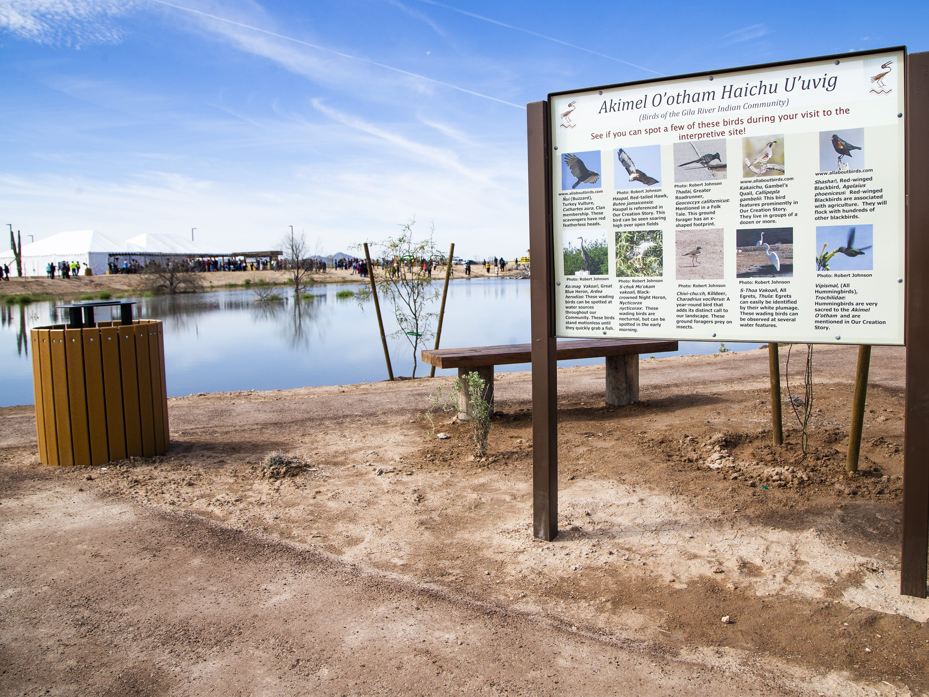 A sign identifying birds marks the path of the MAR 5 Interpretive Trail near Sacaton, Friday, March 1, 2019.