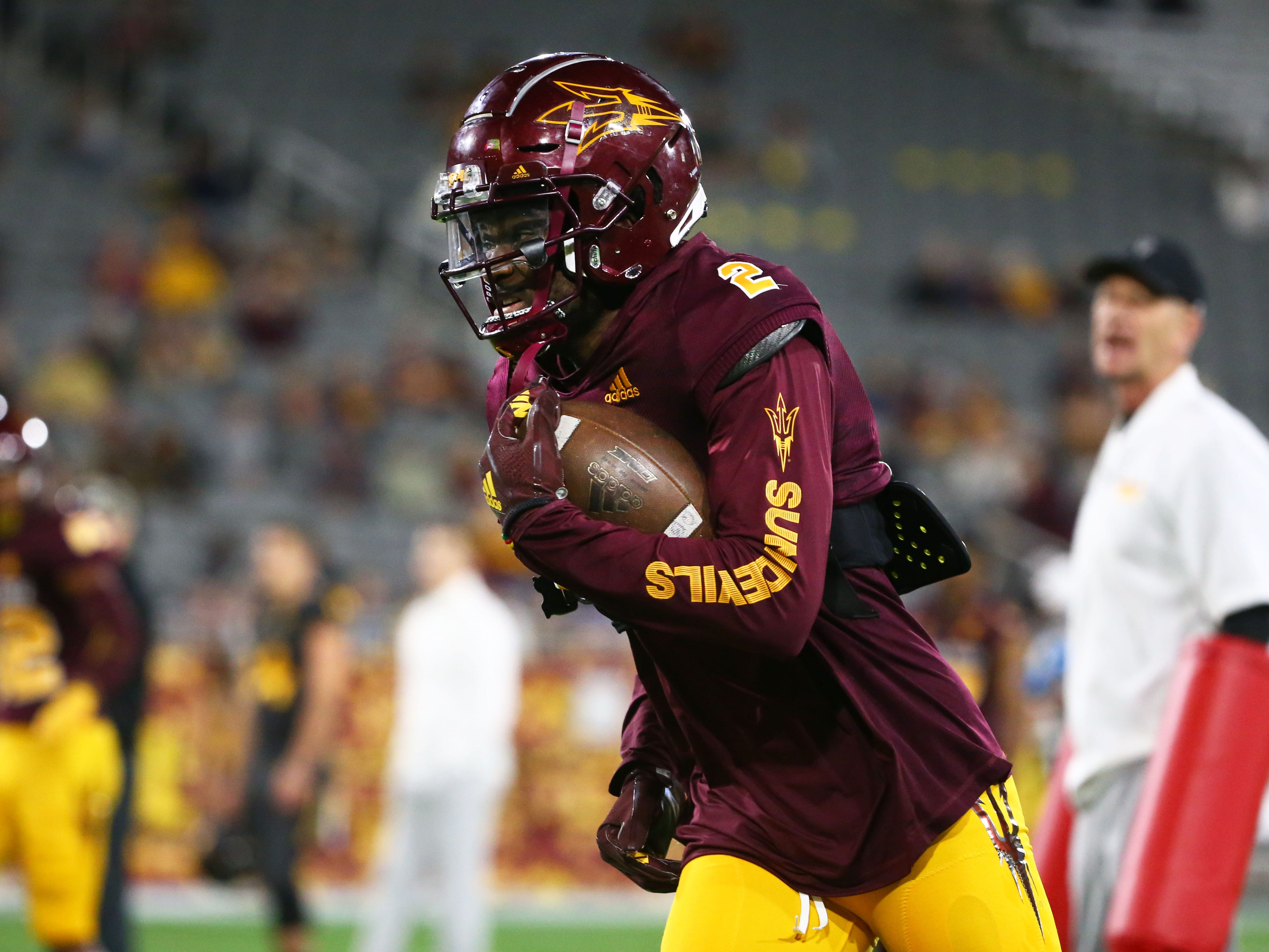 Arizona State wide receiver Brandon Aiyuk (2) during the spring practice game on Feb. 28, 2019 at Sun Devil Stadium in Tempe, Ariz.