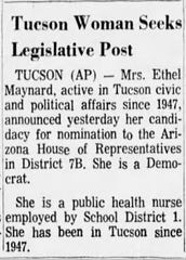 Newspaper clipping from The Arizona Republic newspaper of July 2, 1966, showing Ethel Maynard candidacy announcement for House of Representatives.