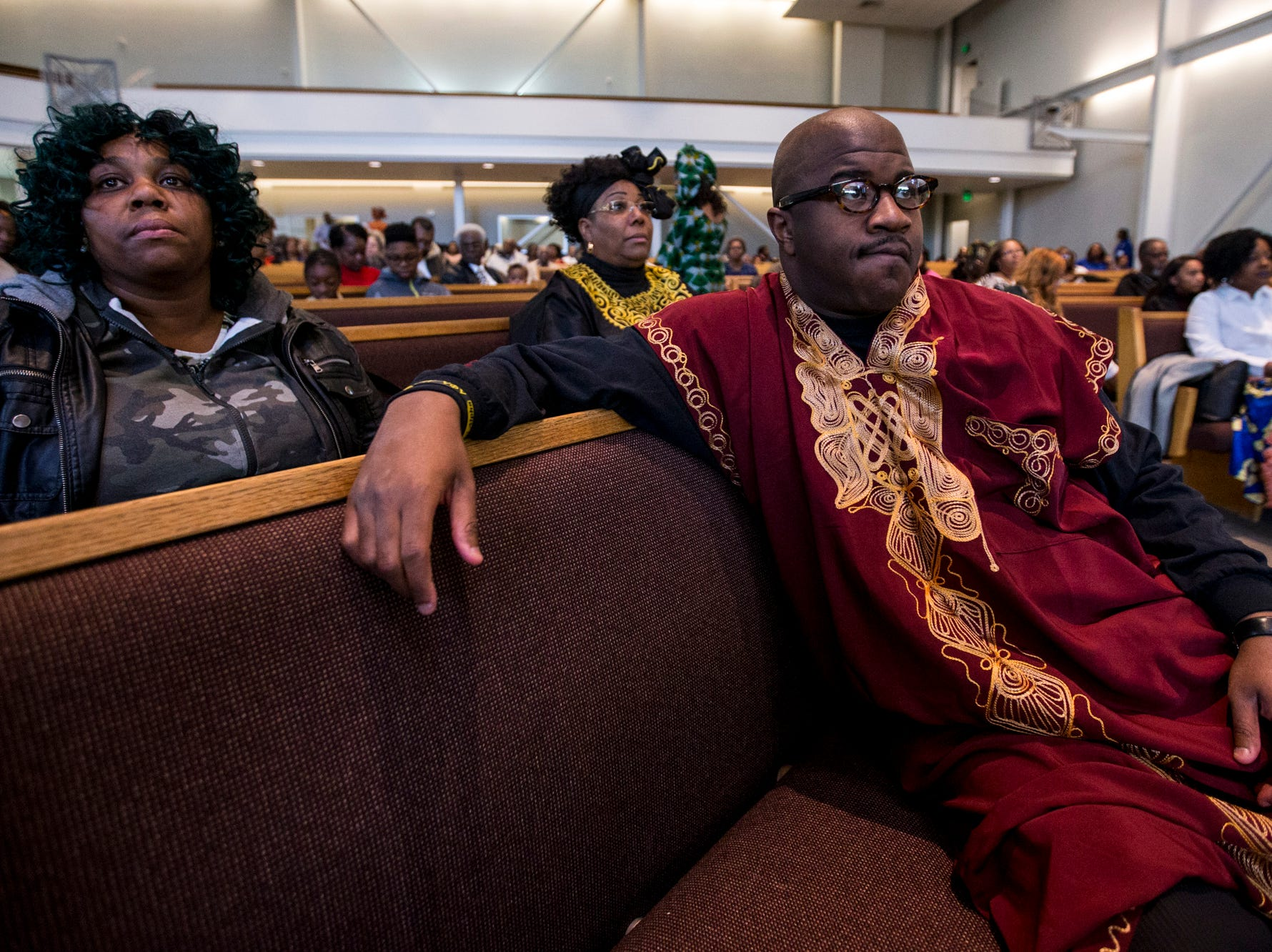 Pastor Terry Mackey listens during the 7:30 a.m. service on Feb. 24, 2019, at Pilgrim Rest Baptist Church in Phoenix. Mackey was appointed to replace the late Bishop Alexis Thomas.